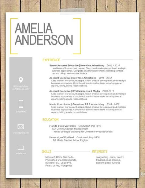 Super cute #resume #design! Yellow Bracket #Resume + Coveru2026 CV - product comparison template word