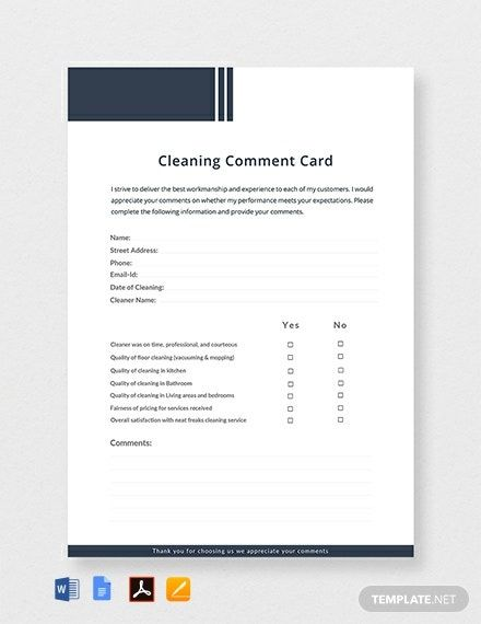 Instantly Download Free Cleaning Comment Card Template Sample Example In Microsoft Word Doc Ado Card Template Business Card Template Design Book Template