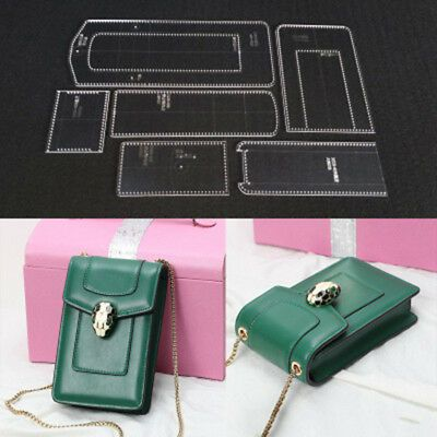 6pcs Shoulder Bag Handbag Acrylic Leathercraft Template Pattern 110x180x45mm