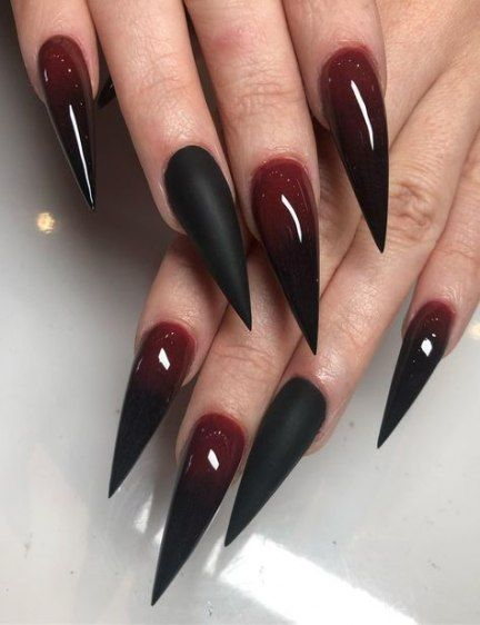 49 Ideas For Nails Stiletto Black Red Nails Valentines Nail Art