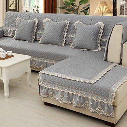 Sofa Covers Continental Linen Cushioning Simple Modern Slipcover Solid Color Fabric Non Slip Four Seasons Furniture Protector C