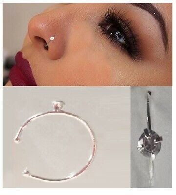 Nose Ring Stud Hoop Fake Septum Clicker Piercing Nose Clip Sterling Silver Nose Ring Hoop 8mm 10mm S In 2020 Nose Ring Stud Nose Rings Hoop Sterling Silver Nose Rings