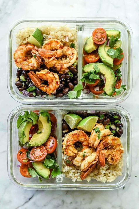 Shrimp Meal Prep Bowl- you can use any protein you want with healthy fats and vegetables. There are so many delicious options to make. Get creative until you make something you love and is very tasty. #healthyfishrecipesgrilled #Butter #chew #Easy #Fish #gesundes abendessen #gesundes essen #gesundes essen abnehmen #gesundes frühstück #gesundes mittagessen #Lemon #Loud #Minutes