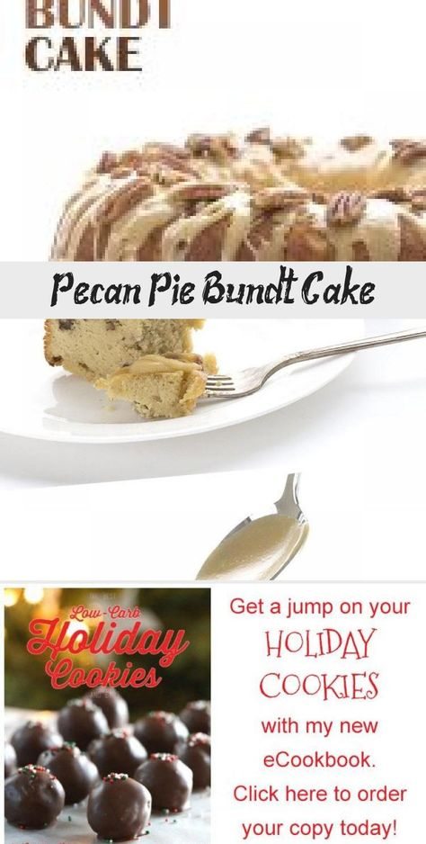 Two delicious keto desserts in one! Tender almond flour bundt cake with all the flavors of pecan pie. Studded with toasted pecans and topped with a rich sugar-free caramel glaze. This will be a hit at all your holiday get togethers! #pecanpie #bundtcake #holidays #thanksgiving #ketorecipes #ketodesserts #HealthDessertsHealthy #HealthDessertsVideos #HealthDessertsUnder100Calories #HealthDessertsFruit #HealthDessertsRecipes