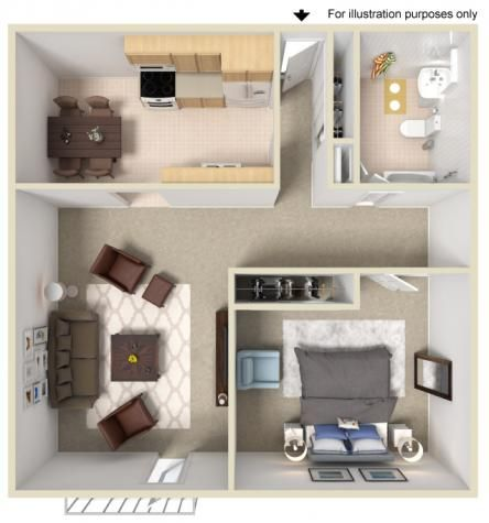 1 Bedroom 1 Bathroom 728 Sq Ft Sims House Plans Sims House Small Space Interior Design