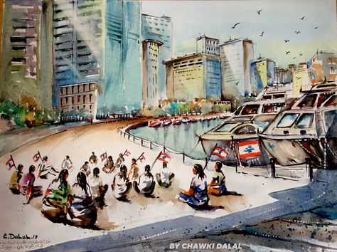 From The Lebanese Students Protests In The San George Zaitouna Bay In Beirut By Artist Chawki Dalal لوحة مائية بريشتي لطلاب لب Art Painting Landmarks