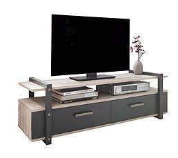 Meuble Tv Fiona Imitation Bois Gris Et Blanc Home Furniture Home Decor