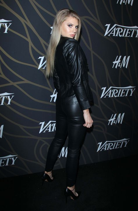 A fully black Leather clad Charlotte McKinney attends Variety Power of Young #laurethdysiac