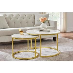Home Decorators Collection Cheval Gold Metal Nesting Coffee Tables
