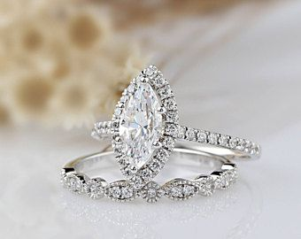 14k Solid Gold Wedding Sets 1ct Round Simulated Diamond Etsy Vintage Engagement Rings Wedding Rings Vintage Big Wedding Rings