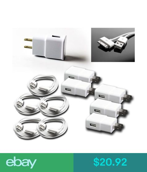 5X 2A POWER ADAPTER+3/' 30PIN USB CABLE CORD CHARGER WHITE IPHONE IPAD IPOD TOUCH