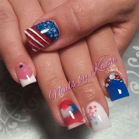 Patriotic by nailsbykaesi - Nail Art Gallery nailartgallery.nailsmag.com by Nails Magazine www.nailsmag.com #nailart #4thofjuly #nails #acrylicnails #nailsbykaesi #swarovski #american #nailart #glitternails #nailpro #caldwell #idaho