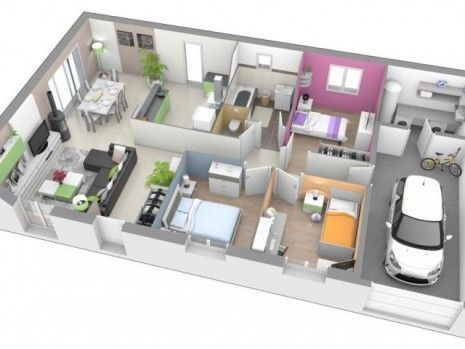 """Résultat De Recherche D'Images Pour """"Plan Maison Plain Pied 120M2 3D"""