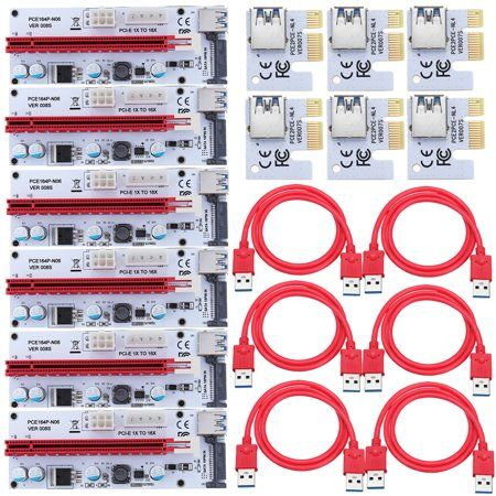 6 Pcs Pci E Express 1x To16x Extender Riser Card Adapter Usb 3 0 Sata Power Cable For Bitcoin 8 Gpu Miner Power Cable Bitcoin Graphic Card