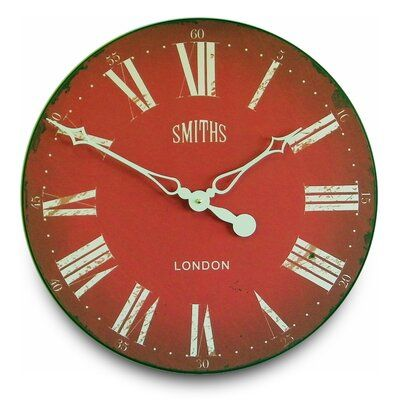 Williston Forge Worceer Antique 20 Wall Clock Finish Red Clock