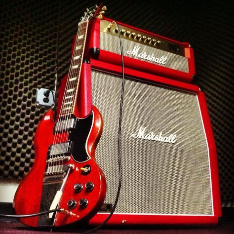 Gibson Usa Sg Red Original And Red Marshall Amp Guitarra