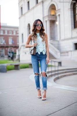 Pantalones Rotos De Mujer Pantalones Rotos Mujer Moda Ropa De Moda