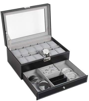 Nex Double Layer Watch Organizer 12 Slot Watch Case With Display Glass And Jewelry Tray Drawer Nx A011 Fibre De Carbone Boite A Bijoux Stockage De Bijoux