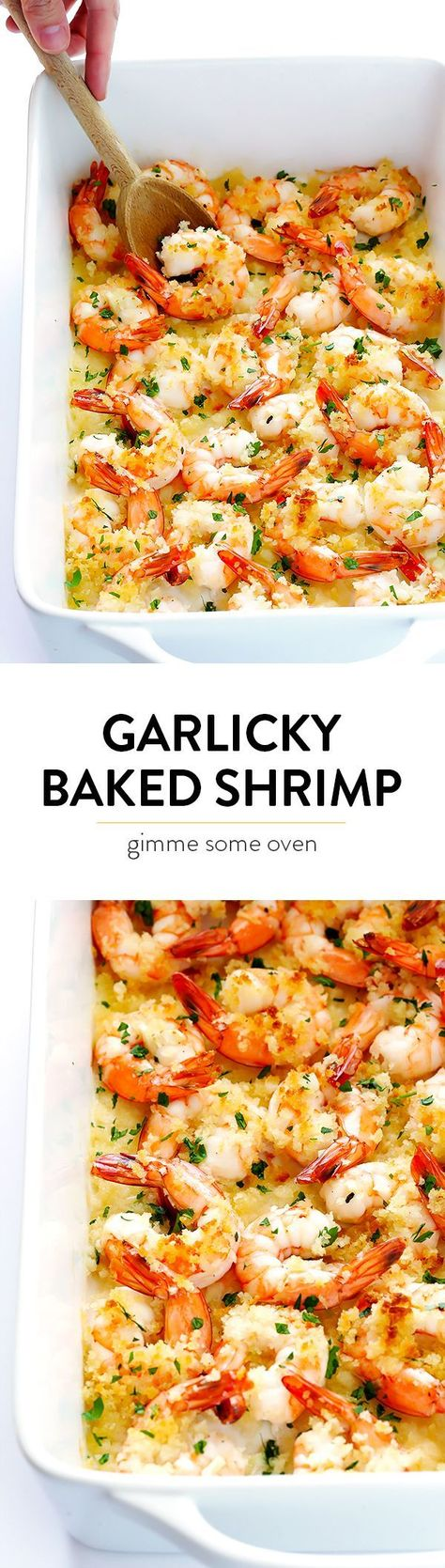 Garlicky Baked Shrimp Recipe -- one of my favorite easy dinners!  It's super quick, calls for just a few simple ingredients, and it's always SO delicious. |