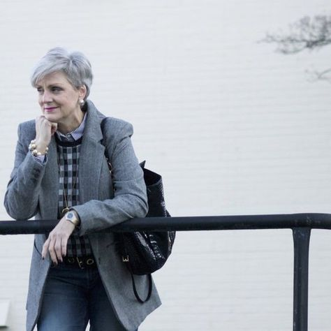 Layer with Checkered Sweaters - Chic Ways To Wear Blazers for Women Over 50 - Photos