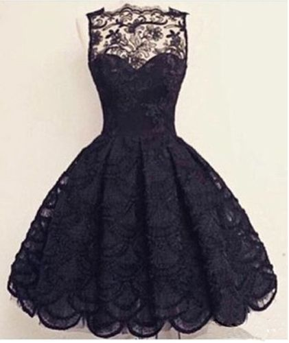 Knee-Length Black Prom Dress,Elegant Homecoming Dress,Homecoming Dress For Juniors And Teens,PD0017