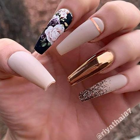 ✨✨✨✨✨ Matte Nude-Beige, Flower Decal, Bronze Chrome and Glitter Fade on long Coffin Nails 👌