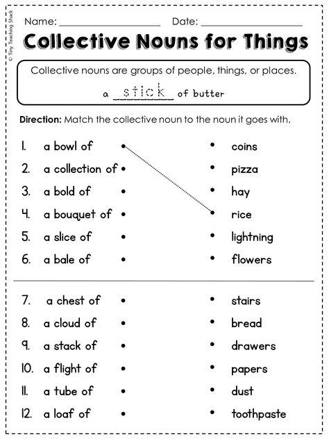 FREE collective noun worksheet