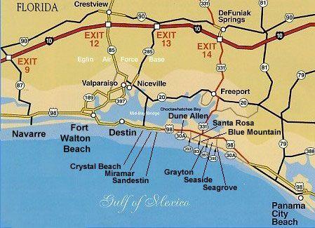 Destin Florida Map Pet Friendly Beach Front Vacation Als Spring Break 2k17