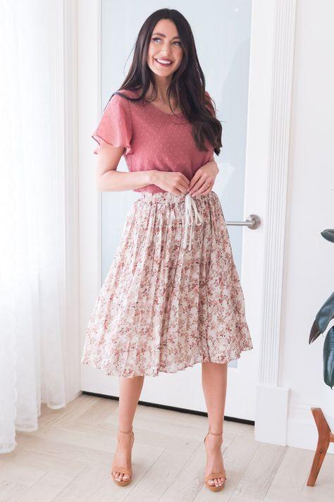 Last Minute Modest Pleat Skirt - Peony Pink Bouquet / M