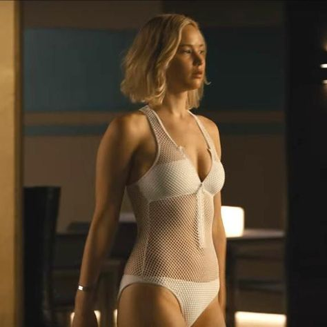 Passengers film: Jennifer Lawrence gets caught in a swimming pool .