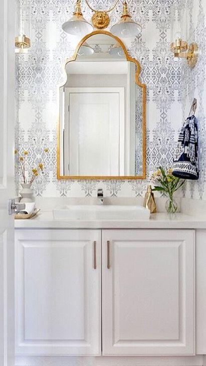 Designs Navy Wallpaper Bathroom With Gold Mirror White Bathroom Cabinets Powder Room Design Bathroom Design