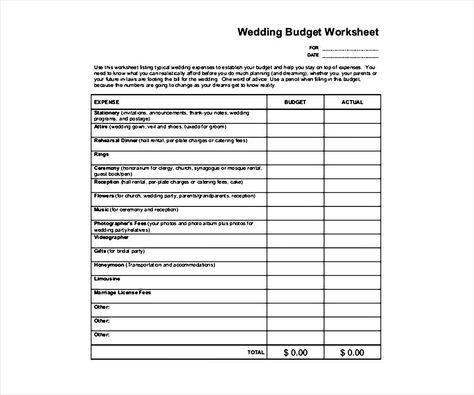 Printable Wedding Budget