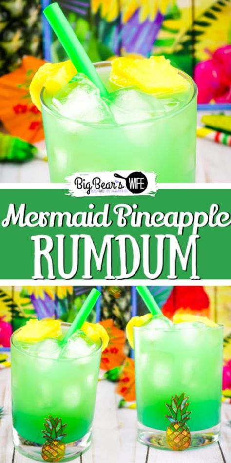This Mermaid Pineapple RumDum will make you feel like you're hanging out on the beach! It's got pineapple rum and vanilla rum mixed plus it's topped with extra pineapple! For an extra kick, soak the pineapple pieces in rum for a few days beforehand! Mixed Drinks Alcohol, Alcohol Drink Recipes, Fireball Recipes, Mixed Drinks With Gin, Mix Drink Recipes, Drinks With Rum, Beach Drink Recipes, Fruity Mixed Drinks, Tropical Drink Recipes