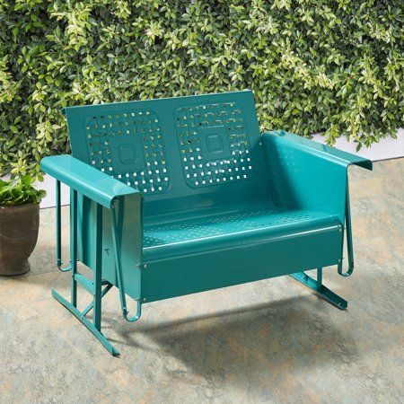 Crosley Bates Loveseat Glider In Turquoise Walmart Com Outdoor Loveseat Outdoor Sofa Outdoor Furniture