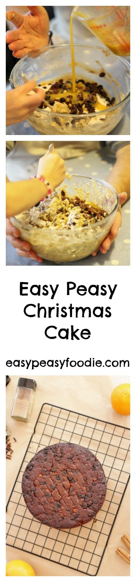This Easy Peasy Christmas Cake is a well tried and tested family recipe that has stood the test of time (several decades in my family). It doesn't need feeding and so is suitable to give to kids - if they'll eat it!! #christmascake #easychristmascake #easypeasychristmascake #homemadechristmascake #easychristmasbaking #christmasbaking #bakingwithkids #easychristmas #easypeasychristmas #easypeasyfoodie