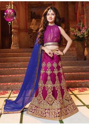 Kids Wear Beautiful Violet Net Lehenga Choli - 72774
