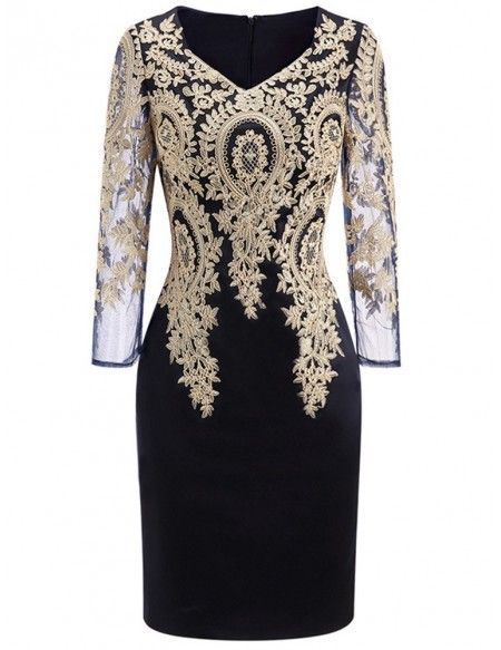 Long Sleeve Embroidered Cocktail Dress For Women Over 40,50