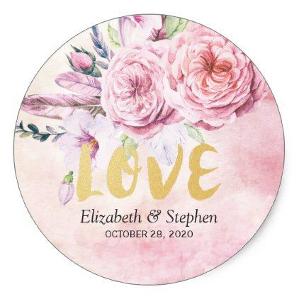 Wedding Thank You Boho Watercolor Floral Feathers Classic Round Sticker Zazzle Com Wedding Stickers Vintage Wedding Gifts Floral Watercolor