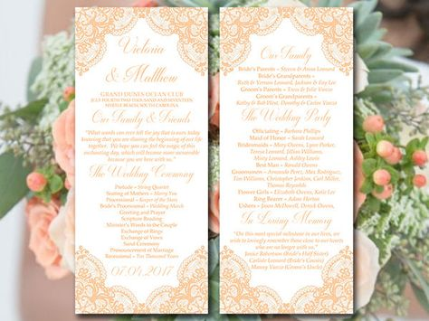Lace Wedding Program Template