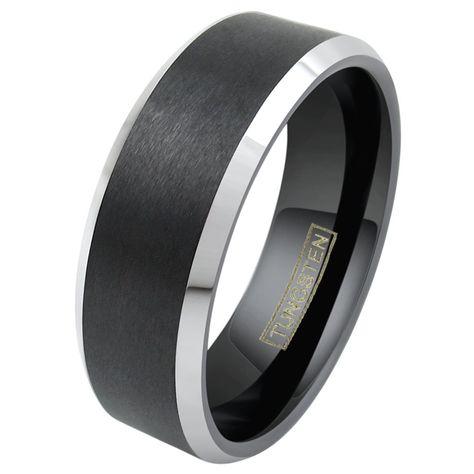 Jewelry Pot Titanium 8mm Two-Tone Satin Polished Engravable Band