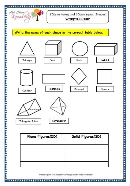 Grade 3 Maths Worksheets 14 3 Geometry 2d Plane Figures And 3d Solid Figures Shapes Lets 3rd Grade Math Worksheets Math Worksheet Geometry Worksheets Identifying 2d shapes worksheets
