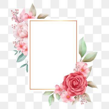 Vintage Floral Frame With Flowers Decoration Transparent Background Png And Vector Flower Frame Floral Poster Pink Watercolor Flower