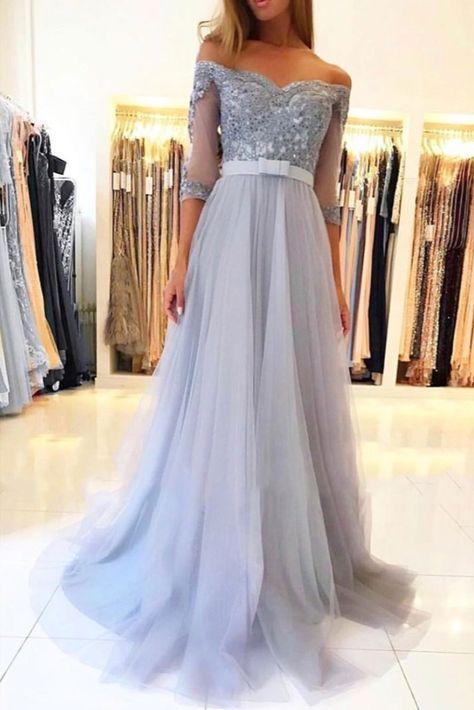 A-Line Off-the-Shoulder Lace Tulle Long Prom Dresses Formal Evening Gowns #longformaldress #motherofthebridedresses #motherofthegroomdresses