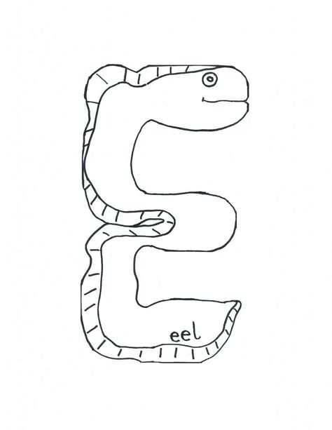 Alphabet Letter Is For Eel Template For Kids Jpeg 791 1 024 Pixels