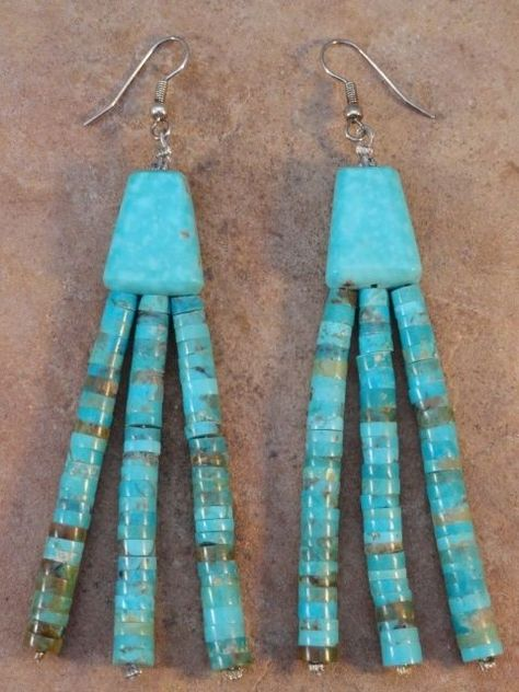 Lupe Lavato Kewa Rolled Turquoise Bead Earrings $185.00