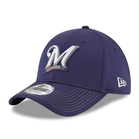 Men s Milwaukee Brewers New Era Navy 2018 On-Field Prolight Batting Practice  39THIRTY Flex Hat 39e58a490cef