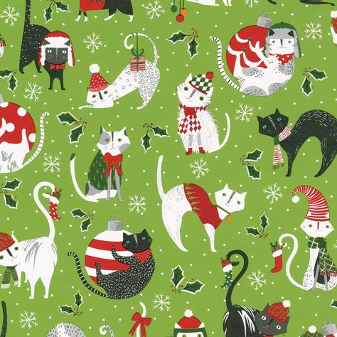 Yule Cats Gift Wrap Roll on High-Gloss Paper - 30