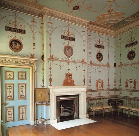 Painted furniture and at wall decoration 'Etruscan style' at Osterley House. The interiors were designed by Scottish Architect Robert Adam