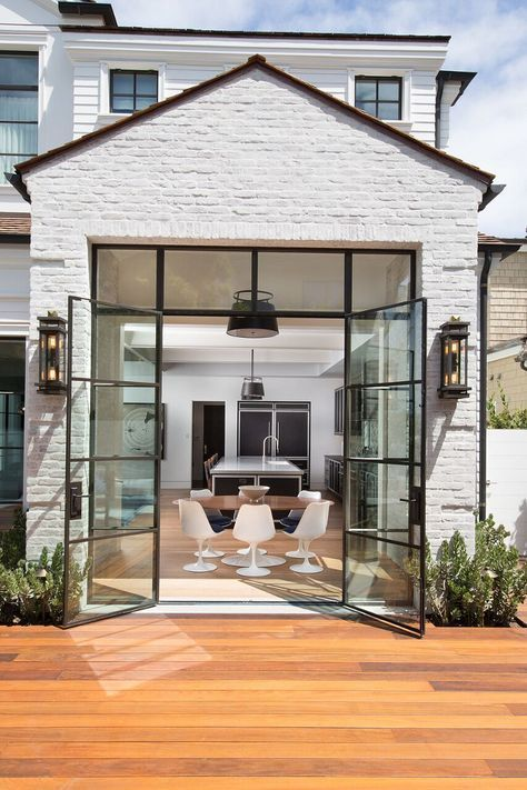 Whitewashed Brick Exterior Home With Black Steel Windows And Black Steel French Doors Exterior Steel French Doors Exterior Steel Doors Exterior House Exterior