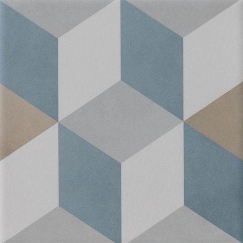 Carrelage Sol Mur Bleu Beige Effet Carreau De Ciment Patrimony Cube L 20xl 20cm Carrelage Sol Murs Bleus Et Carrelage